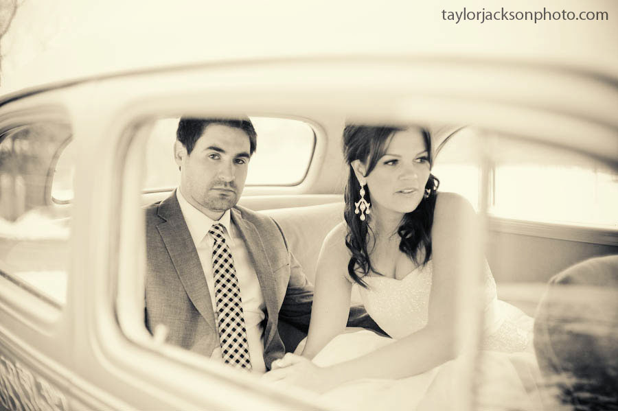 Bride and groom in a hotrod wedding day
