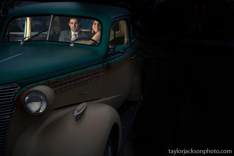bride and groom off camera flash classic car