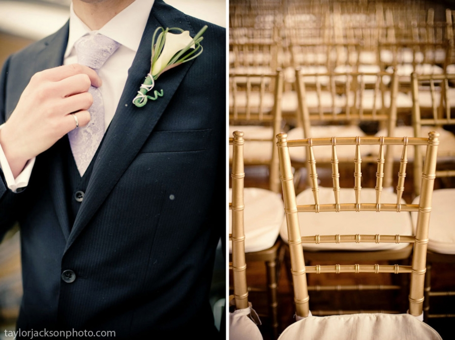 wedding details, tux and chairs. Governors Room